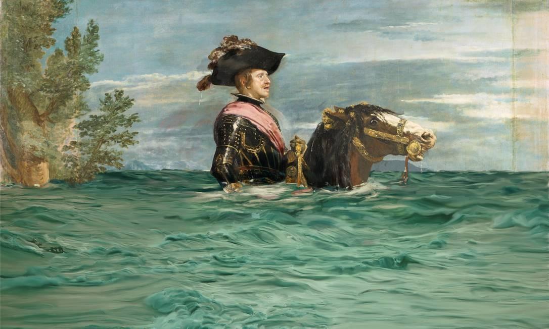 Felipe IV a cavalo alagado pelo aumento do nível do mar Foto: Divulgação / WWF España e Museo del Prado