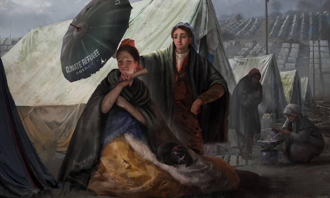 O guarda-sol serviu para ilustrar o drama dos refugiados por questões climáticas Foto: Divulgação / WWF España e Museo del Prado