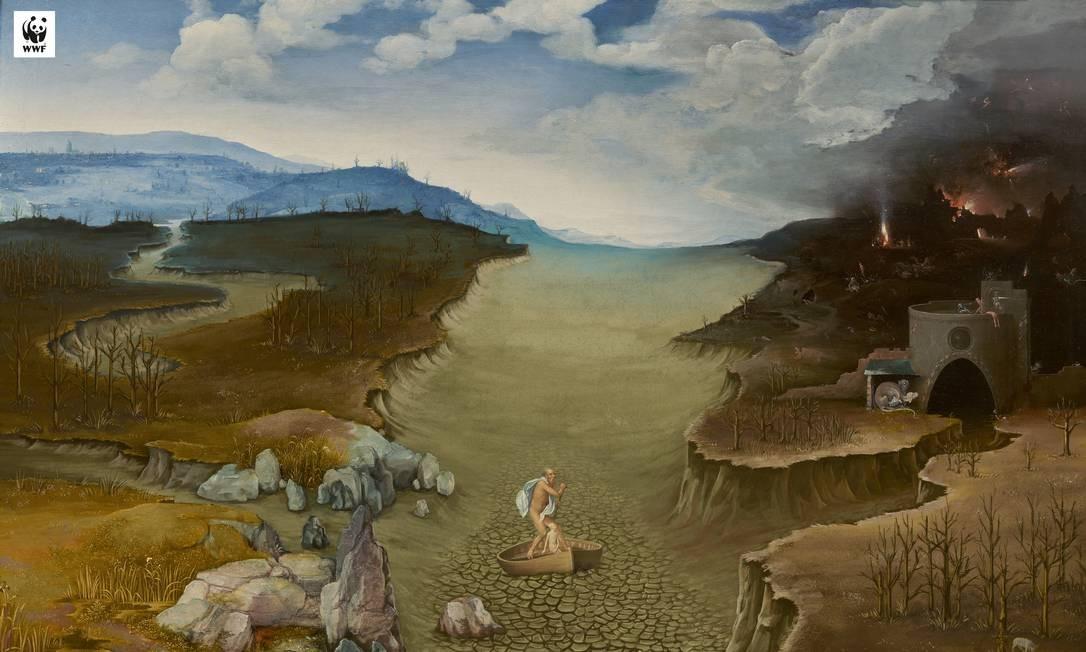 Rio da mitologia grega onde Aquiles foi banhado para se proteger – e ficou com o calcanhar de fora – aparece seco, devido às mudanças climáticas Foto: Divulgação / WWF España e Museo del Prado