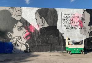 O mural feito em Miami, em Wynwood, que sofreu críticas de policiais e foi apagado Foto: Arquivo pessoal / Alessandro Abade