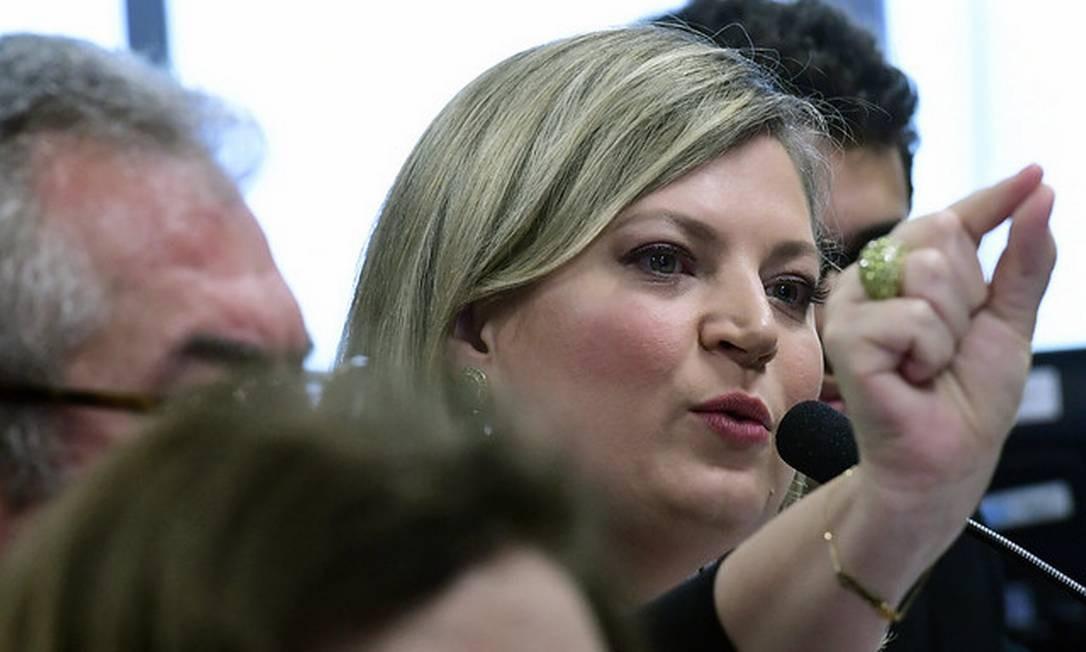 A deputada Joice Hasselmann (PSL-SP) em depoimento à Comissão das Fake News Foto: Geraldo Magela / Agência Senado