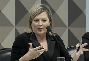 Joice Hasselmann em depoimento na Comissão Parlamentar Mista de Inquérito (CPI) das Fake News Foto: Geraldo Magela / Agência Senado