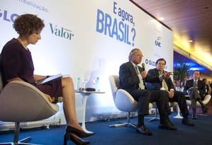 O ministro da economia, Paulo Guedes, e o presidente da Câmara dos Deputados, Rodrigo Maia, participaram do E Agora, Brasil? em abril Foto: Adriana Lorete / O Globo/08/04/2019