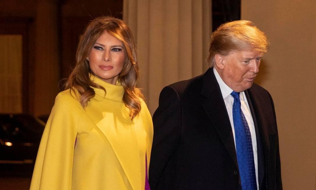 Primeira-dama Melania Trump ao lado do presidente Donald Trump durante jantar oficial no Palácio de Buckingham Foto: POOL / REUTERS/03-12-2019