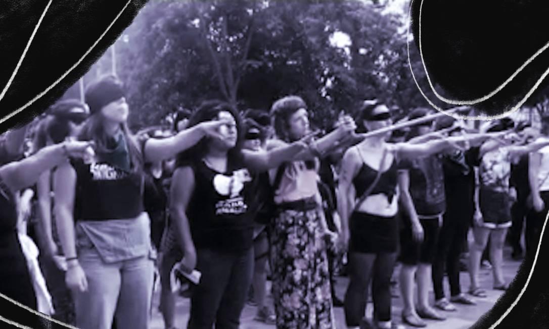 Ato feminista reúne 100 mulheres em São Paula em coreografia surgida no Chile Foto: Reprodução