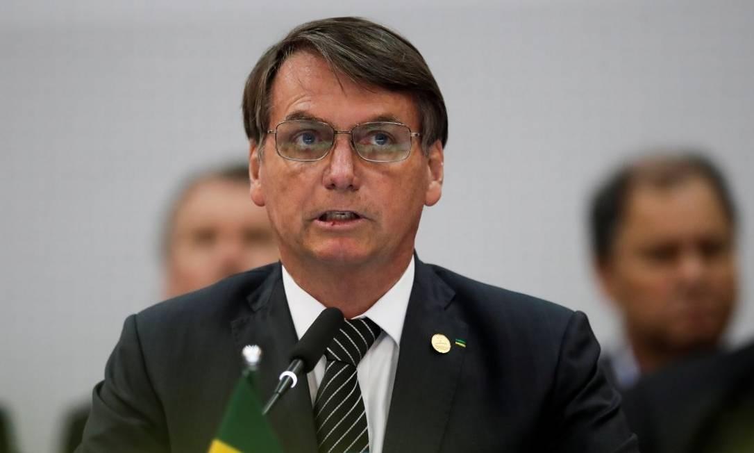 O presidente Jair Bolsonaro discursa na abertura da cúpula do Mercosul, em Bento Gonçalves, no Rio Grande do Sul Foto: Reuters