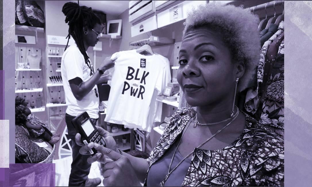 Gisele Barthar, sócia da loja Pequena África, com a máquina Black Bank Foto: Guilherme Pinto / Agência O Globo