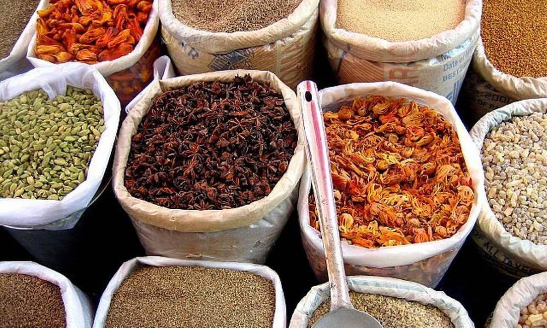 Mercado de pimentas na Índia Foto: Creative Commons