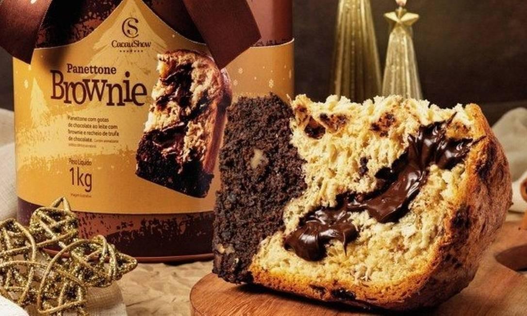 A Cacau Show tem panettone com brownie e recheio de trufa de chocolate Foto: Divulgação