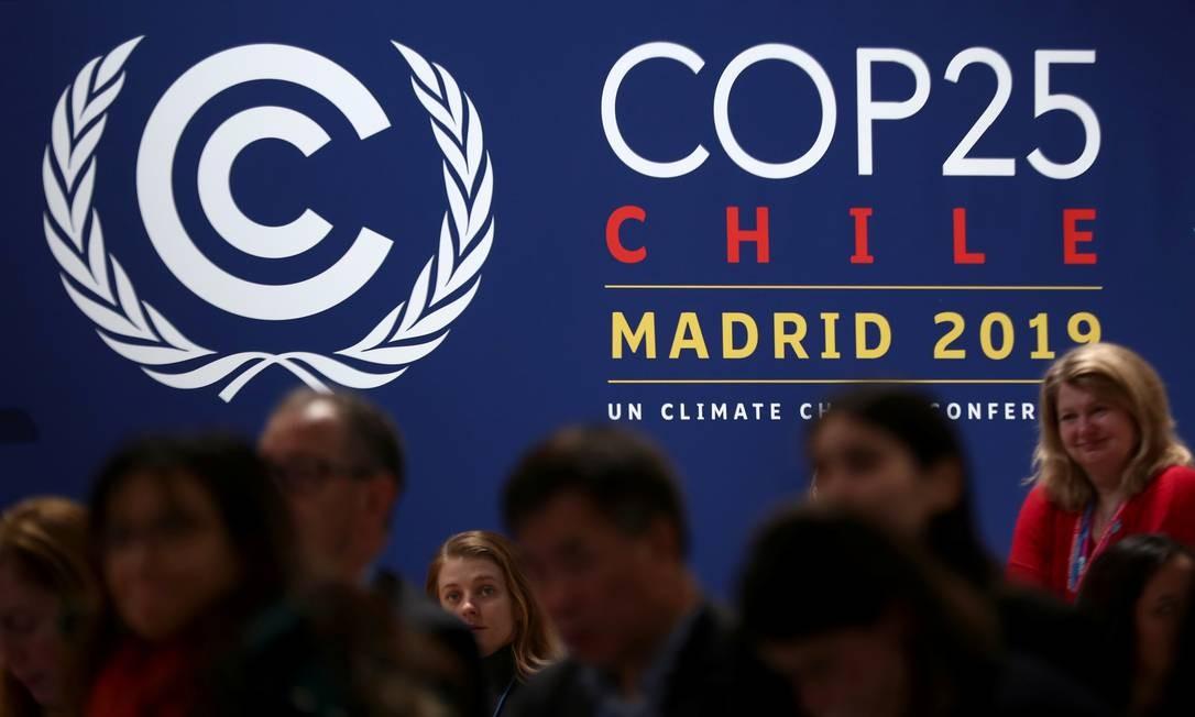 Logotipo da Conferência da Onu sobre Mudança Climática (COP25), que acontece em Madri, Espanha Foto: Sergio Perez / Reuters