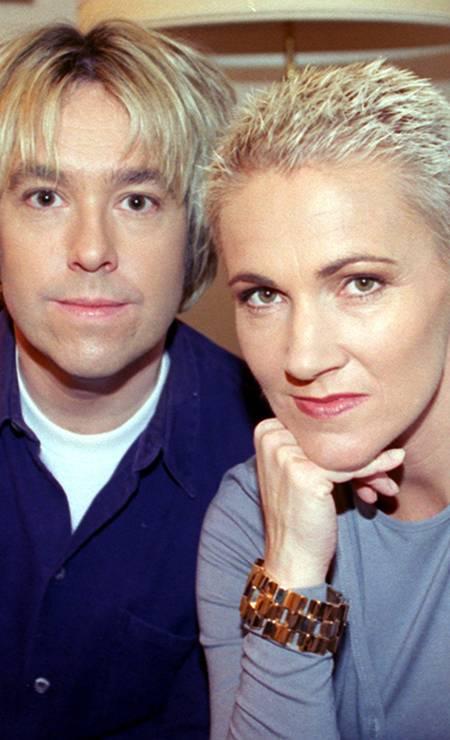 Marie Fredriksson e Per Gessle em 27 de janeiro de 1999. Eles formara a banda Roxette em 1986 Foto: Kay Nietfeld / AFP