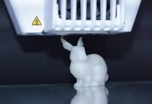 Plástico usado para impressão do coelho tem nanopartículas de vidro com DNA Foto: ETH Zurich