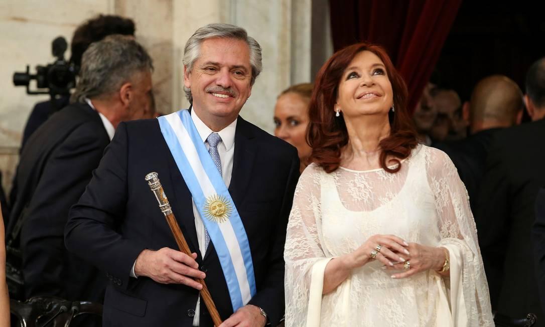 Alberto Fernandéz e a vice Cristina Kirchner durante cerimônia de posse Foto: Agustin Marcarian / Reuters