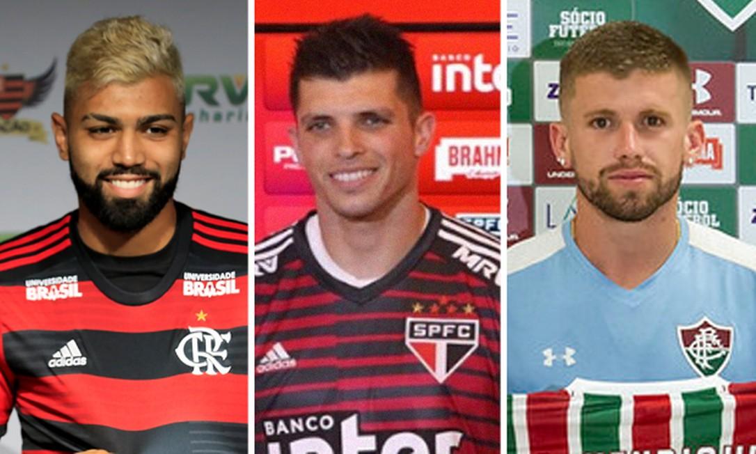 O GLOBO analisa contratações da temporada Foto: Marcelo Theobald/Agência O Globo, Divulgação/São Paulo FC e Daniel Perpetuo/Fluminense F.C.