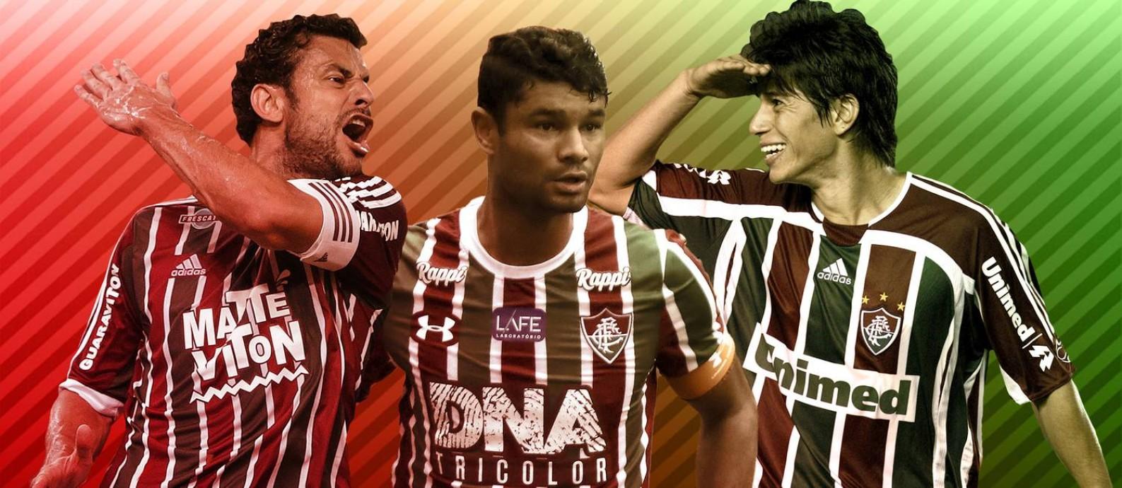 Fred, Gum e Conca estão na seleção do Fluminense nos últimos 10 anos Foto: Editoria de Arte