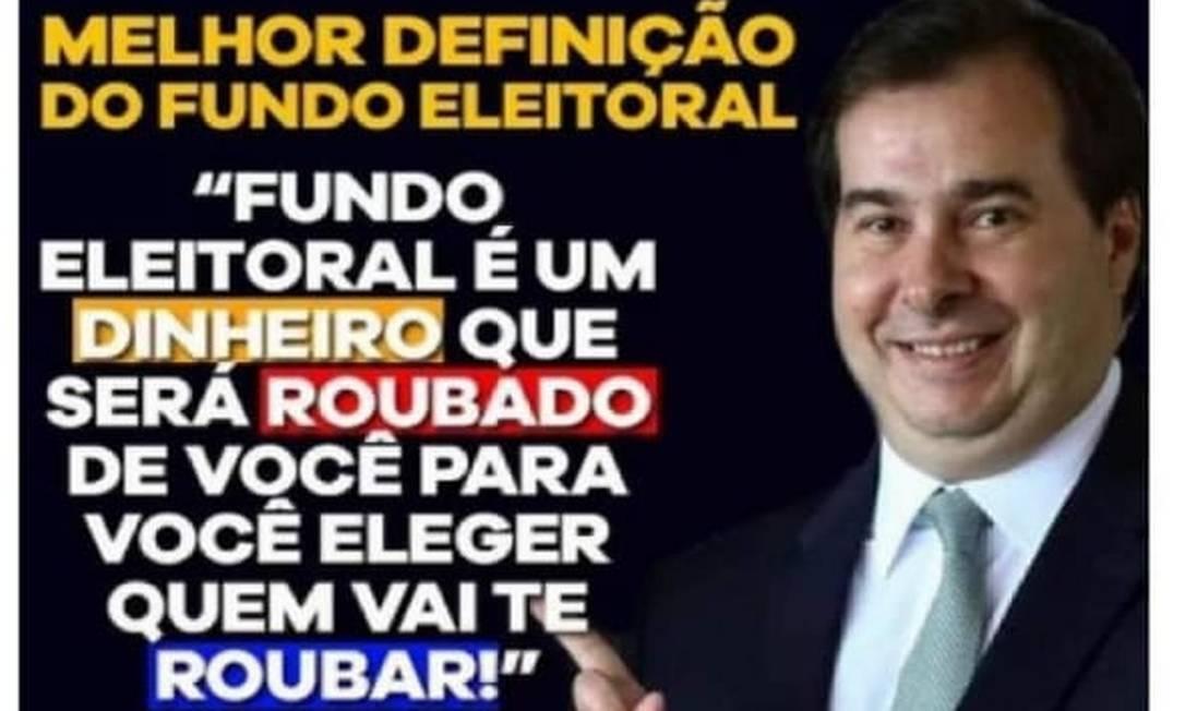 Senadora Selma Arruda compartilhou foto com ataque a Rodrigo Maia Foto: Reprodução