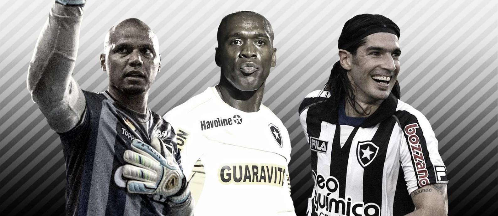 Jefferson, Seedorf e Loco Abreu na seleção do Botafogo entre 2010 e 2019 Foto: Editoria de Arte