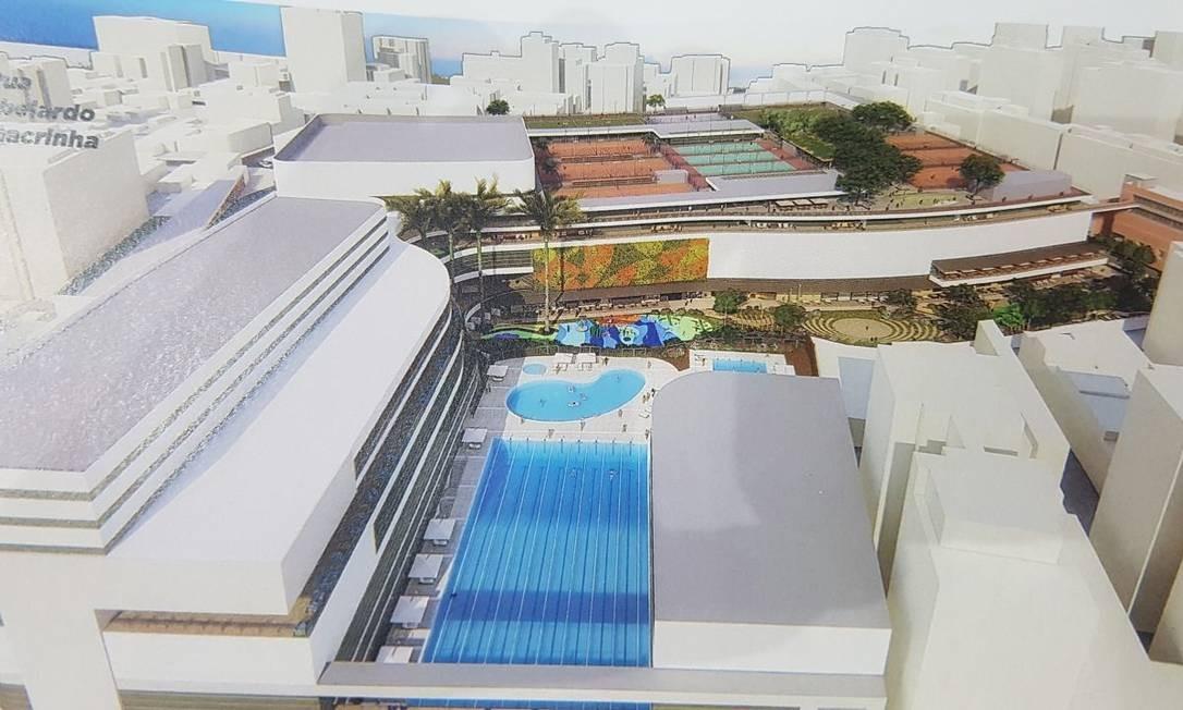 Projeto da BrMalls previa construir shopping em meio ao clube, no terreno da agremiação Foto: Reprodução