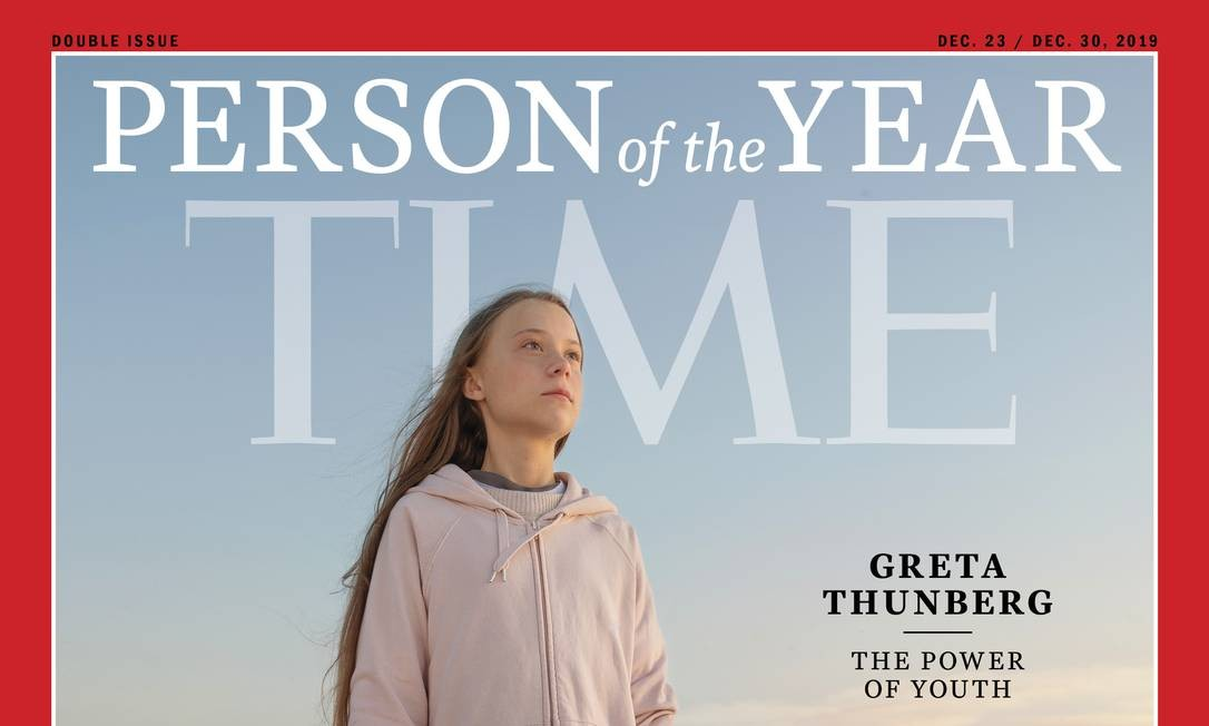 Capa da revista Time. Greta é a pessoa mais jovem a ser reconhecida como personalidade do ano pela publicaçao estadunidense Foto: Reprodução / Revista Time