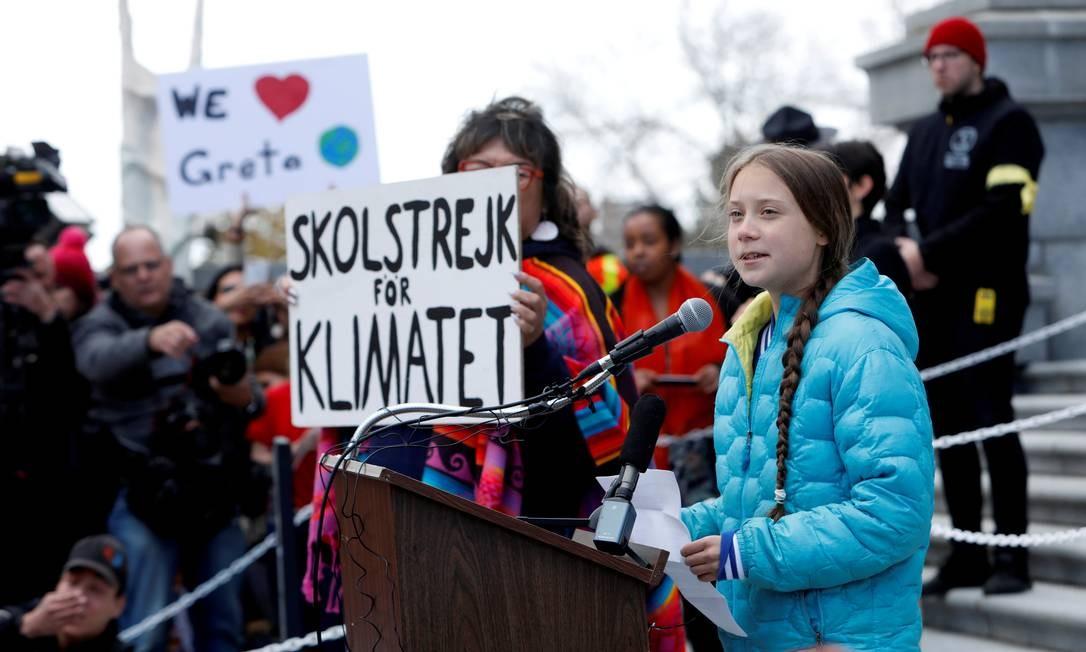 A ativista adolescente sueca das mudanças climáticas, Greta Thunberg, discursou durante uma greve climática no Legislativo de Alberta, no Canadá, em 18 de outubro Foto: Amber Bracken / Reuters