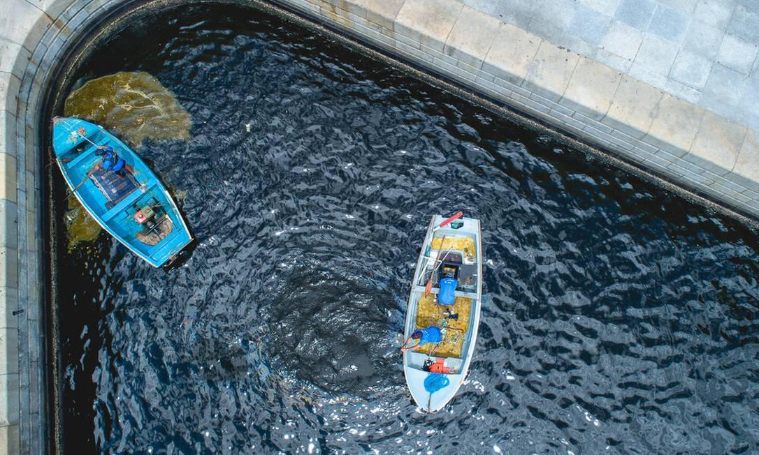 O primeiro mutirão do Rio ao Mar foi nas águas ao lado do Museu do Amanhã, na Praça Mauá, com auxílio de barcos Foto: Rio ao Mar / Divulgação