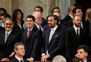 Novo ministro do Interior da Argentina, Eduardo de Pedro, o segundo da esquerda para a direita, junto a outros minitros durante posse de Alberto Fernández Foto: AGUSTIN MARCARIAN / REUTERS/10-12-2019