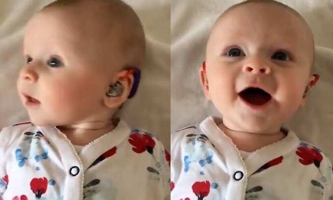 Reação de Georgina foi captada em vídeo por seus pais Foto: Reprodução