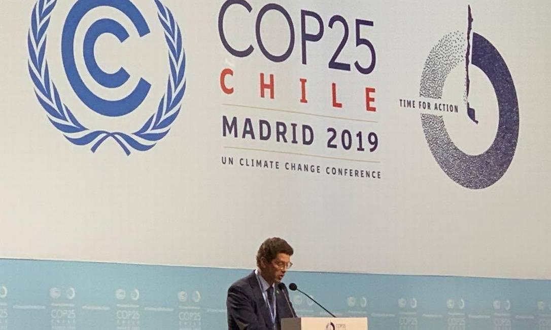 Ministro do Meio Ambiente, Ricardo Salles discursa na COP-25, em Madri Foto: Twitter / Reprodução