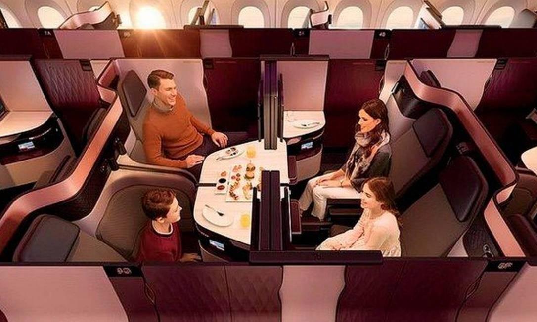Veja como é a parte interna do avião que levará o Flamengo até o Qatar Foto: Divulgação