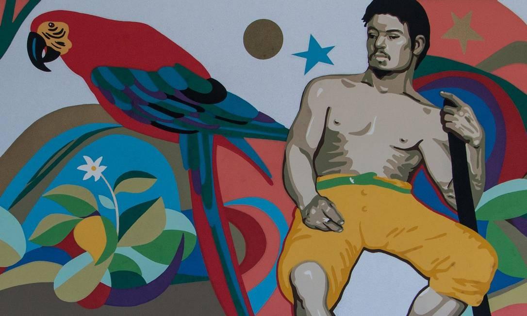 Gravura inspirada em 'O derrubador brasileiro', de Almeida Júnior: apropriação contemporânea Foto: Divulgação