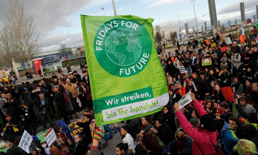 Madrid teve protestos pelo clima por conta da COP-25 Foto: Nacho Doce/Reuters / Nacho Doce/Reuters