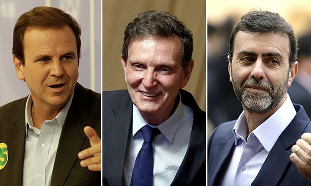 Os pré-candidatos à prefeitura do Rio Eduardo Paes, Marcelo Crivella e Marcelo Freixo Foto: O Globo/Montagem