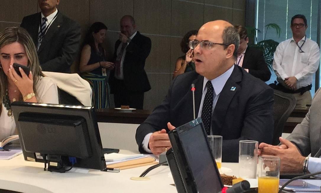 Wilson Witzel: governador conversou com jornalistas na manhã desta terça-feira no Palácio Guanabara Foto: Paulo Cappelli / O Globo