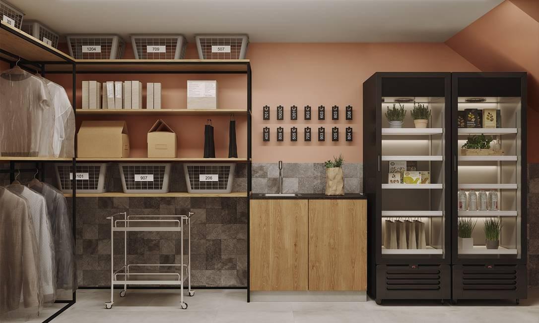 O espaço para guardar entregas no Maison Laranjeiras terá até geladeira Foto: reprodução