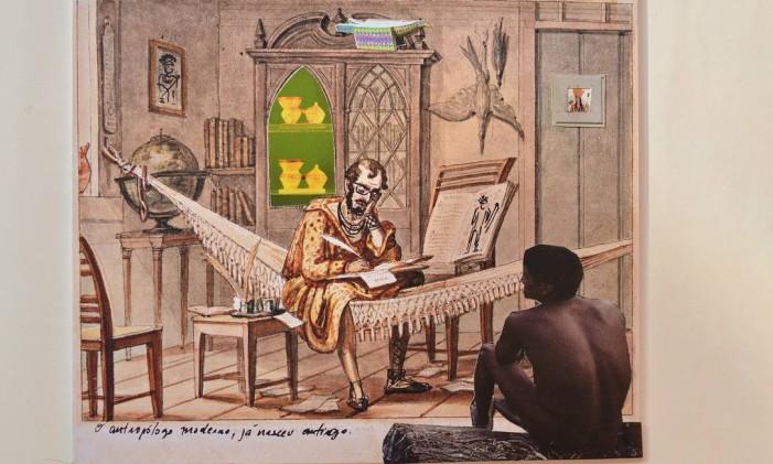 'O antropologo moderno já nasceu antigo', desenho e colagem de Denilson Baniwa a partir de obra de Debret Foto: Divulgação
