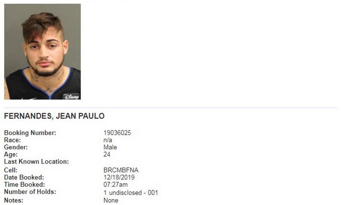 Ficha do goleiro Jean na polícia dos EUA Foto: Reprodução