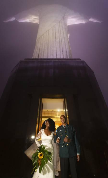 A bênção aconteceu no santuário do Cristo Redentor, o maior símbolo do Rio de Janeiro Foto: Leo Martins / Agência O Globo