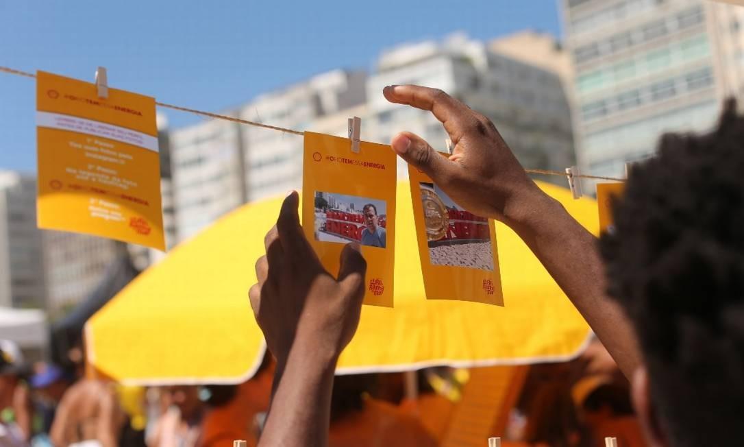 Quem postava a hashtag #oRioTemEssaEnergia, tema da campanha da Shell, ganhava uma foto especial Foto: Marco Sobral/G.LAB