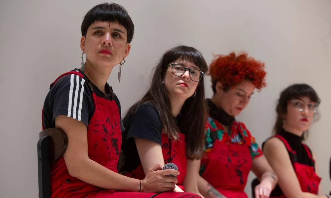 Daffne Valdés, Sibila Sotomayor, Lea Cáceres e Paula Cometa: fundadoras do coletivo Lastesis Foto: CLAUDIO REYES / AFP