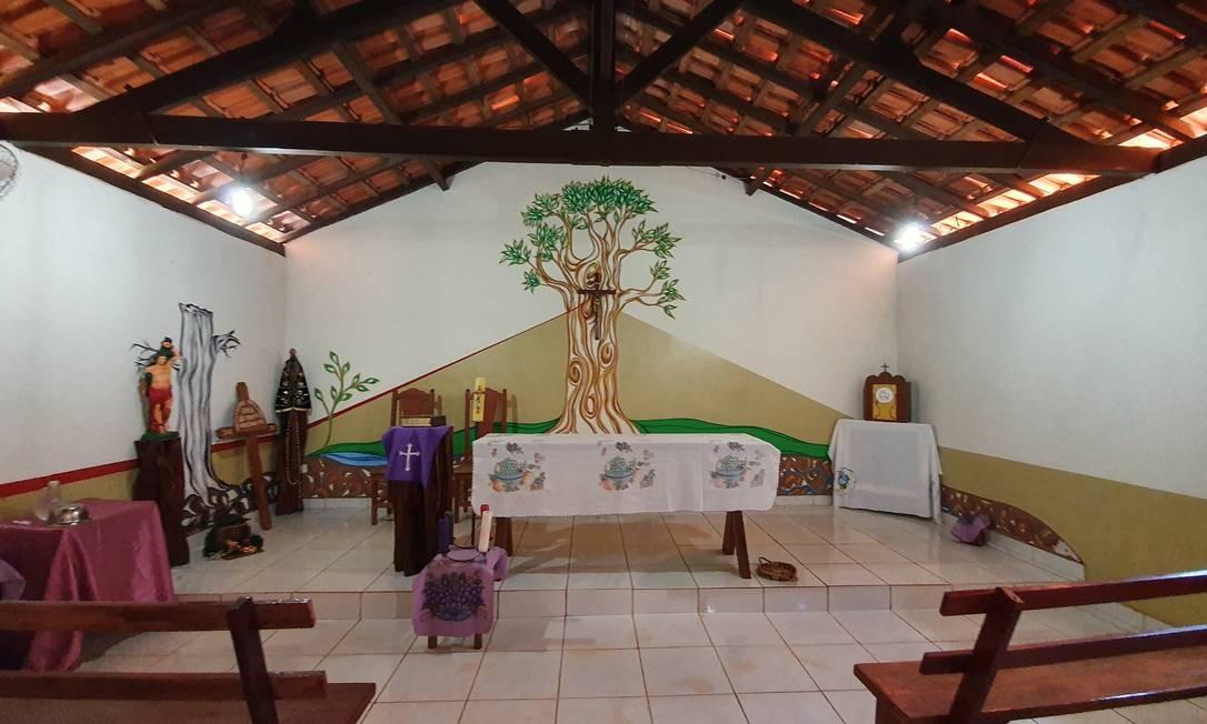 Igreja com painel premiado no Sínodo para a Amazônia na comunidade de coletores de sementes de Nova Conquista, no Mato Grosso Foto: Ana Lucia Azevedo / Agência O Globo