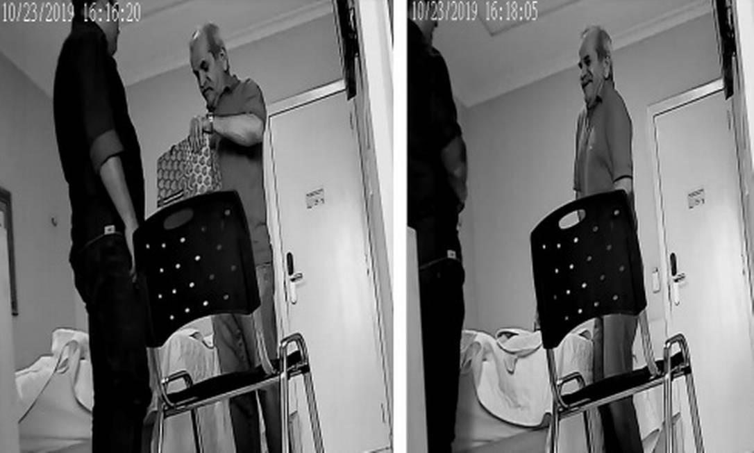 Momento em que o prefeito de Uiraúna (PB) coloca dinher de propina na cueca Foto: Reprodução