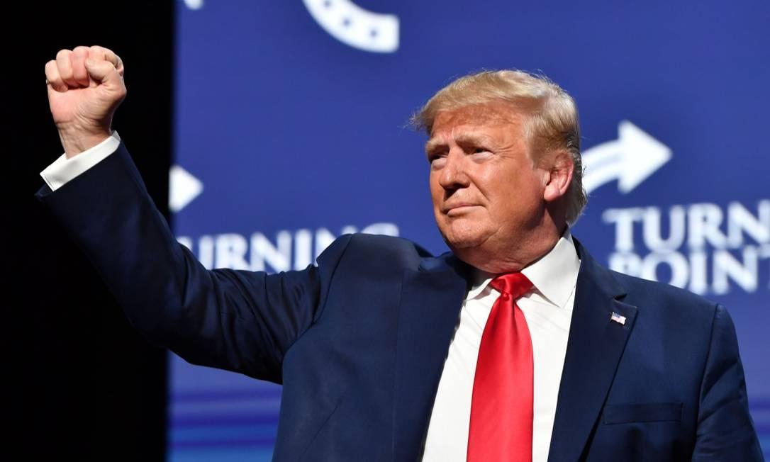 Presidente Donald Trump durante evento em Palm Beach, na Flórida Foto: NICHOLAS KAMM / AFP