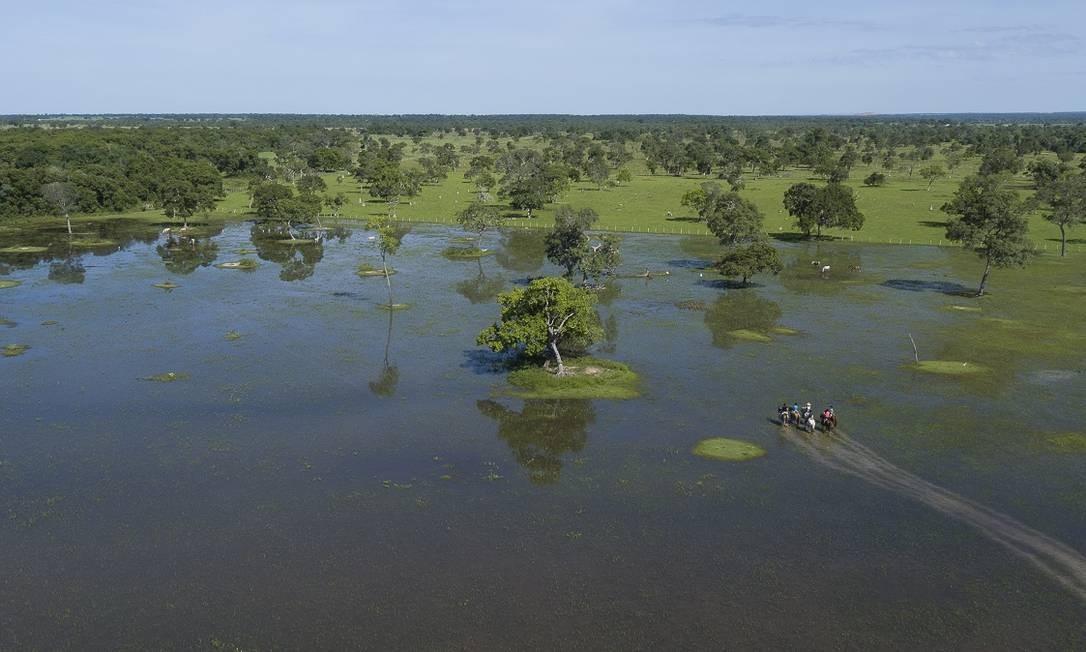 Vista aérea de uma cavalgada em Poconé, região do Pantanal do Mato Grosso Foto: Flávio André de Souza / Ministério do Turismo / Divulgação