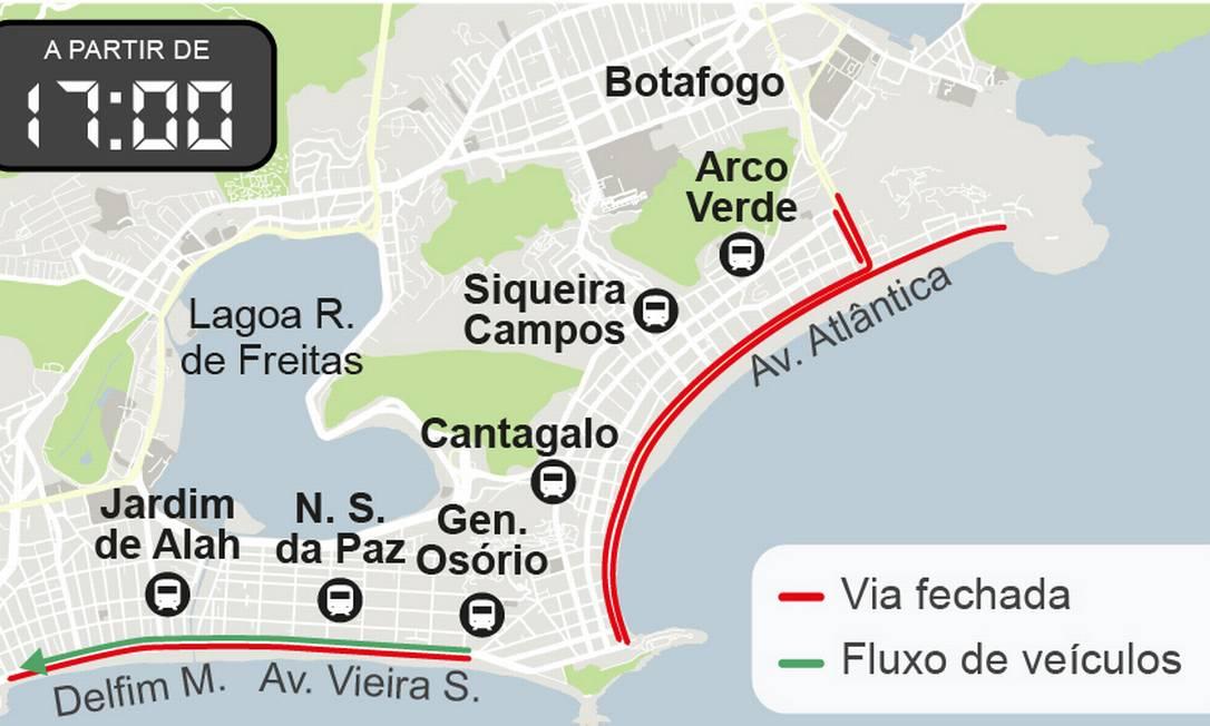 De acordo com a CET-Rio, o bloqueio total da Atlântica começa duas horas mais tarde no dia 31 Foto: Arte O Globo