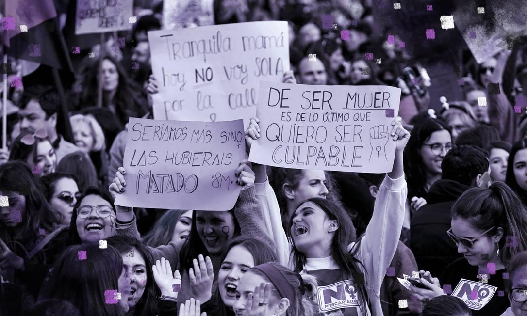 Manifestantes em Madri, no Dia Internacional da Mulher, celebram conquistas e demandam direitos Foto: Reuters