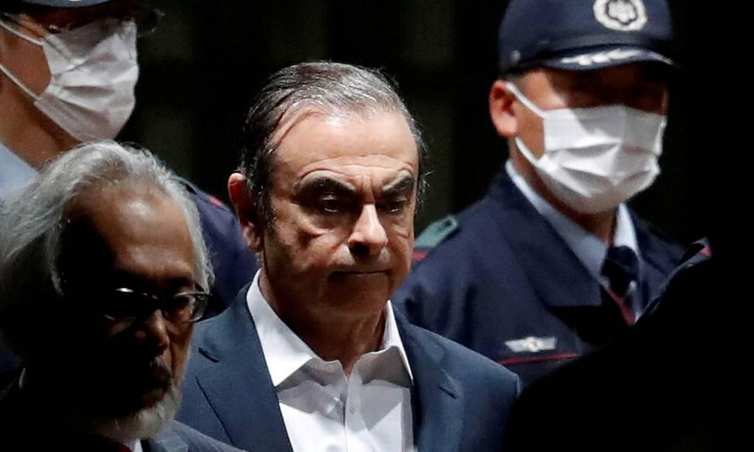 Foto tirada em 25 de abril, quando Carlos Ghosn deixou o centro de detenção de Tóquio Foto: Issei Kato / Reuters