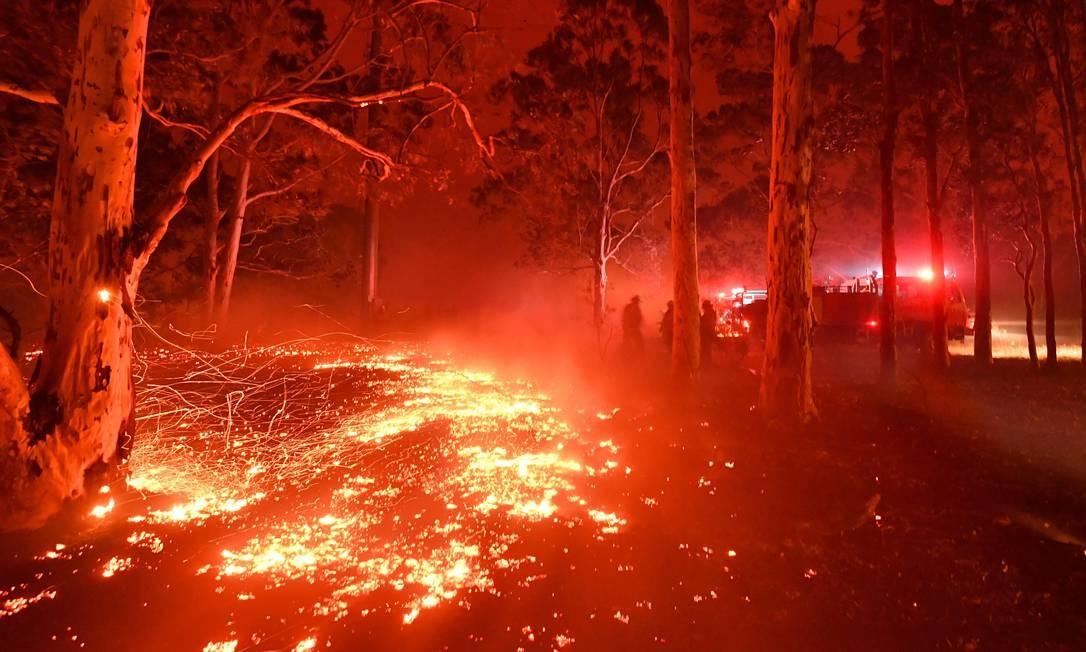 Bombeiros resfriam brasas em incêndio florestal em Nowra, no sudeste da Austrália Foto: Saeed Khan / AFP