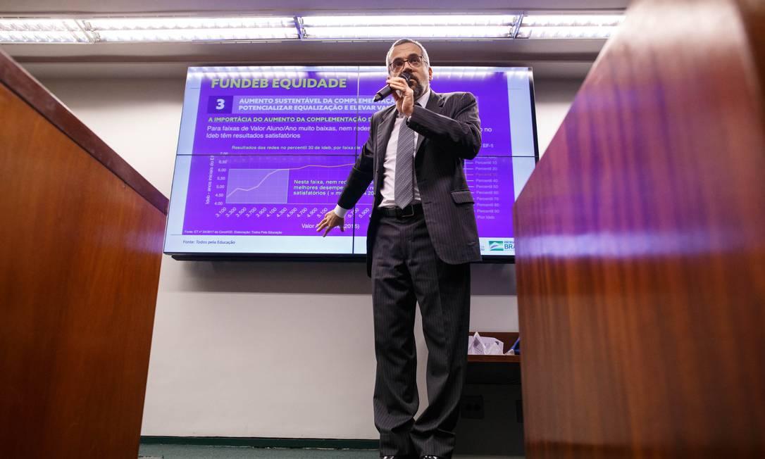 O ministro da Educação, Abraham Weintraub, foi à Comissão Especial do Fundeb para discutir a proposta em tramitação na Câmara dos Deputados. Foto: Daniel Marenco / 25/06/2019