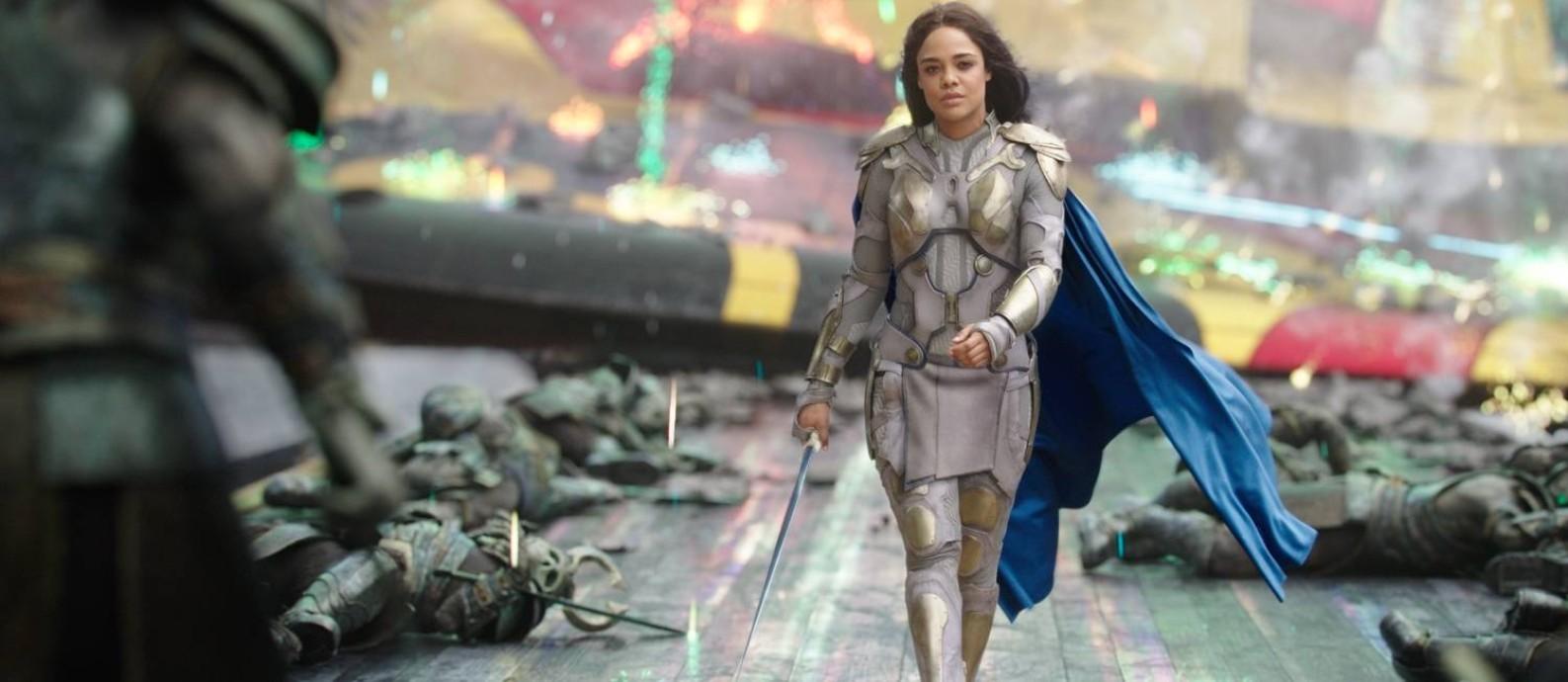 Tessa Thompson como Valkíria em 'Thor Ragnarok': nos quadrinhos, personagem se assume como bissexual Foto: Divulgação