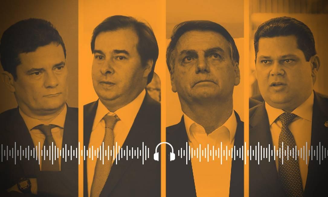 Moro, Maia, Bolsonaro e Alcolumbre: personagens de 2019 que seguem no foco em 2020 Foto: Arte
